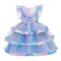 Girl's Dresses 3-12 Years Girls Sleeveless Mesh Flower Kids Evening Dress Tutu Princess Wedding Ball Gown Children Clothing Costume