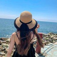 Wide Brim Hats Leisure Beach Vacation Sun Hat Women's Sunshade Brims Outdoor Summer Lace Ribbon Bow Sunscreen Straw