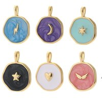 Moon Star Heart Designer Charms for Jewelry Making Supplies Bohemia Colorful Cute Pendant Charms Diy Earrings Necklace Charms LJF10793