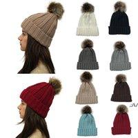 Women Pom Pom Beanie 9 Colors Outdoor Winter Warm Fur Ball Hat Skull Beanie Solid Knit Crochet Cap LLF11085