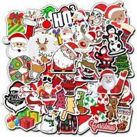 PVC ملصقا عيد الميلاد سانتا كلوز ملصقات الأمتعة الكمبيوتر سكيت سيارة دراجة نارية كتابات ملصقات ماء ديكور owb10899