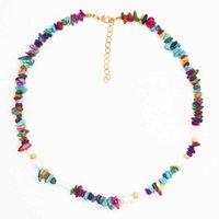 Collier Bohemian Couleur Naturel Gravel Imitation Perle Collier National Style Collier de couleur Mixte