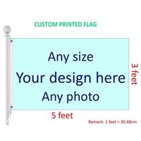 3x5 Feet Custom Flag and Banner Any Logo Any Color 100D Polyester Digital Printing w  shaft cover Grommets