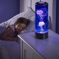 Stokta akıllı ev kontrolü! 2021 Yaratıcı Kawaii Jellyfish Lamba Yedi Otomatik Okyanus LED Okyanus Fener Işık Dekor