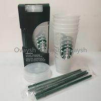 Starbucks 24 oz / 710ml Vaso de plástico reutilizable Clear Clear Botting Fondo de la parte inferior de la taza de pilar Taza de la paja Bardian
