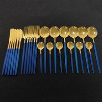 Flatware Sets 24Pcs Dinnerware Set Blue Gold Shiny Fork Spoon Knife Cutlery Stainless Steel Western Silverware For Kitchen Tableware