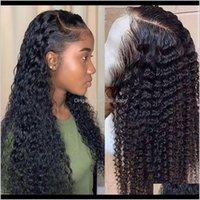 موجة المياه قصيرة مجعد الشعر الأمامي للشعر البشري للنساء السود بوب طويلة عميق أمامي البرازيلي الرطب والمائج الكامل EWMW2 JK2IC