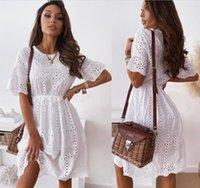 Fashion O-cou à manches courtes en coton blanc dentelle femme femme mini robe 2021 été décontracté plage creux robes pour femmes