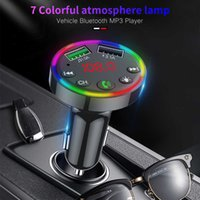 Car Bluetooth FM Transmitter 7 Colors LED Backlit Car Radio Free MP3 Music Player Atmosphere Light Audio Receiver USB Charger