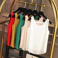 Chiffon Women Summer Tank Tops Sleeveless Solid Simple Vest Plus Size O-neck Basic Shirts S-7XL 8XL 10 Colors Women's Blouses &