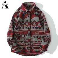 Ajzhy inverno cashmere cashmere camisa de flanela homens manga longa casual streetwear botão vintage up nacional geométrica roupas retrô 210325
