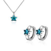 Fashion 925 Sterling Silver Azul Cinco puntiagudo Circon Circon Collar Colgante + Pendientes para Mujer Gargantilla Joyas Conjuntos Kolye