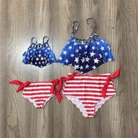 Girlymax July 4th Summer Baby Girls Children Clothes Mommy &Me Stripe Star Swimsuit Bikini Boutique Set 2 Pieces Kids Clothing 210727