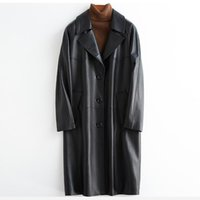 Women's Leather & Faux Lautaro Black Oversized Trench Coat For Women Raglan Sleeve Loose 2021 Spring Womens Clothes Long Soft