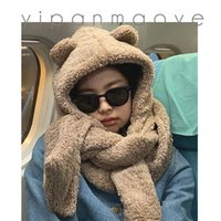 Second Hair Jennie Same Hat Cute Bear Three Piece Set Plush Thickened Ear Protection Warm Scarffashion and Personality Scarf