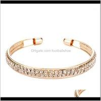 Bracelets Jewelrylatest Fashion Women 2-Row Crystal Gold Sliver Adjustable Open Bracelet Simple Luxury Shinning Office Ladies Bangle Jewelry