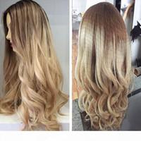 Ombre Iki Ton Sarışın Renk 100% Brezilyalı İnsan Saç Tam Dantel Peruk Dantel Ön Peruk Ağartılmış Knot Ombre # 8 22 İnsan Saç Peruk