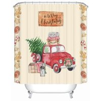Shower Curtains Vintage Red Pickup Truck With Christmas Tree Curtain Gingerbread Man Fabric Polyester Bathroom Waterproof