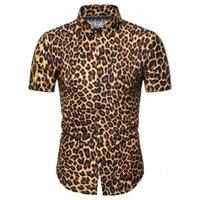 Léopard Imprimer Miicoopie Mens manches courtes Chemises à manches courtes pour l'été Print Print Casual Mode Hommes Shirts_yw_yh