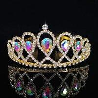 جديد زفاف كريستال تاج لعروس خوذة الباروك تيارا ولي العهد أزياء الأميرة تيارا حجر الراين اكسسوارات للشعر مجوهرات 1719 Q2