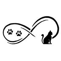 17.8 * 8.9 cm Sevimli Pet Kedi Pençe Baskı Tampon Araba Sticker Vinil Motosiklet Dekoratif Çıkartmalar Siyah / Gümüş S1-0034