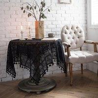 Настольная ткань Черная полая скатерть ручной работы вязание крючком свадьба