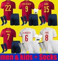 Camiseta 2021 2021 2022 اسبانيا لكرة القدم جيرسي إسبانيا 21 22 Asensio Morata Isco Iniesta Alcacer Saul Xavi Raul España Football Shirts Men + Kids Kit