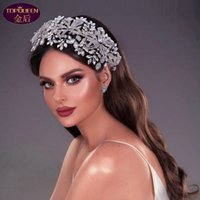 Exaggerated Large Hair Band Tiara Luxury Hair Hoop Ladies Jewelry Diamond Crowns Princess Rhinestone Bride Wedding Accessories Women Crowns Headpieces