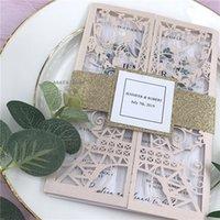 Blush Tower Tower Paris Cut Cut Quinceanera Invites Láser Cut Sweet 15 Invitaciones