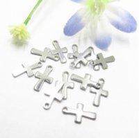 1000pcs Ton en acier inoxydable en acier inoxydable petit crucifix Cross Charme Pendentres Connecteurs DIY Bijoux Constatations pour bijoux Fabriquée 12mm * 7mm PS1420
