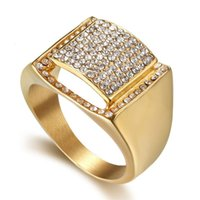 Cluster Rings Hip Hop Micro Pave Cubic Zircon Ring Iced Out 316L Stainless Steel Square For Men Cool Party Jewlery Gift Drop