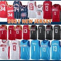 2021 Новый Баскетбол Джерси ХьюстонRocket Mens John 1 Wall James 13 Harden Hakeem 34 Olajuwon Mesh ретро фиолетовый