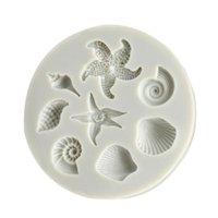 Bolo Decoração Ferramentas DIY Sea Criaturas Conch Starfish Shell Fondant Doces Silicone Molds Criativo Molde de Chocolate Cozimento Pastelaria