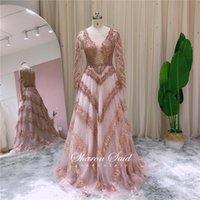 Arabic Rose Pink Long Sleeve Muslim Evening Dress 2021 Elegant Burgundy Women Wedding Party Gowns Silver Dubai Formal Dresses