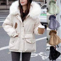 Women's Wool & Blends Winter Warm Women Coat Outerwer Pure Color Down Coats Hooded Zipper Thicken Jacket With Pockets Belted Overcoat