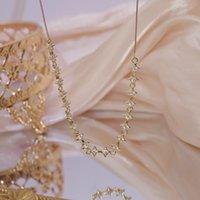 Ins glänzend Bling Zirkon Clavicle Kette Charme Stern Halsketten für Frauen Hochzeit Anhänger 14K echte Gold Schmuckketten