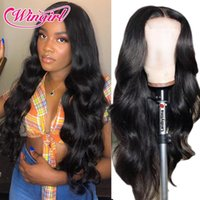 Lace Wigs Wingirl Medium Brown Front Body Wave Wig 180 Density Pre-Plucked Frontal Human Hair 4x4 Closure