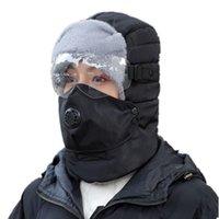 Outdoor cycling kaltfest ohrmütze thermische bomber hüte männer winterhut baumwolle winddichte ski samt schutz feder mask caps masken