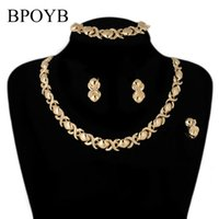 Earrings & Necklace BPOYB Factory Wholesale Xoxo Clavicle Chain Women Accesories Gold Color Dubai African Beads Jewelry Set