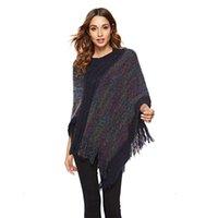 Maglione di mantello nappa delle donne Maglione autunno Stripped Moda Maglione Signore O-Collo Pullover Vintage