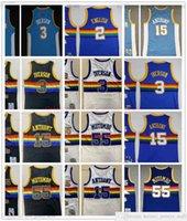 Mitchell and Ness Retro Baloncesto 3 Allen Jersey Iverson cosido 15 Carmelo 55 Dikembe Anthony Mutombo Alex 2 Jerseys Pantalones cortos Blanco Negro Blue MN Vintage
