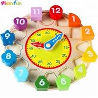 Tiempo de madera Reloj Niños Color Educativo Y Forma Aprender Puzzles Juguetes