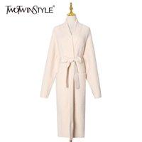 Twotwinstyle Gevşek Tüvit Kazak Kadınlar için V Boyun Uzun Kollu Lace Up Ilmek Kore Kore Koridor Örme Hırka Kadın Moda 210517