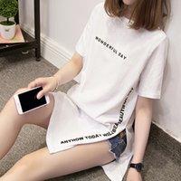 Nkandby Plus Size Wonderful Day Imprimir Longo Camisas Verão Mulheres Solta Slit Femme Tops Algodão Tshirt T-shirt Senhoras de Manga Curta 210317