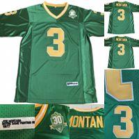 Hommes 3 Joe Montana Notre Dame Combattre Irish 1977 NCAA College Football Jersey Double Nom et Logos Green