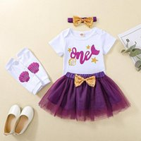 Clothing Sets Girl's Four Piece Suit, Born's Short Sleeve Romper Mesh Skirt Shell Printed Leg Warmer Hair Band For Baby