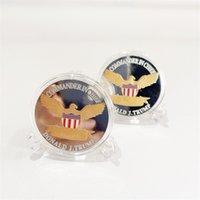 2024 미국 선거 트럼프 기념 동전 금 도금 실버 도금 더블 컬러 철 동전 공예품 T500578 714 B3