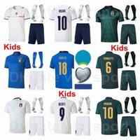 2020-2021 Europa Copa Juventud Italia Jerseys Fútbol Jerseys Niños Calcetines Insigne Immobile Belotti Bonucci Bernardedeschi Jorginho Chiellini El Shaarawy Euro Football Kits