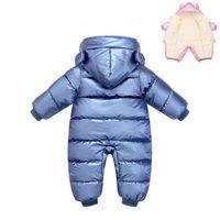 -30 born Baby Romper Boy Clothes Winter Plus velvet warm Snowsuit Overall Children Girl Jumpsuit Infant Hooded coat clothing 210727