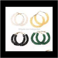 Reifen Hie Schmuck Drop Lieferung 2021 Übertriebene Frauen Kreis handgefertigte Perlen Kristall Ohrringe Hohe Qualität Großhandel Mode Simple Persona